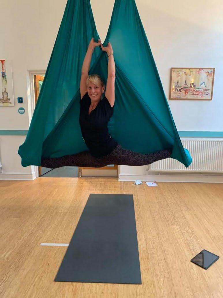 Aerial Yoga splits Pauline at Tring Yoga Studios_12